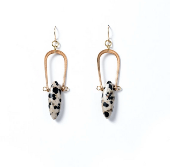 Dalmatian Jasper Amulet Earrings