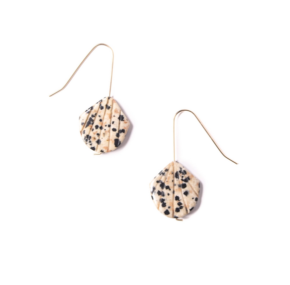 Dalmatian Jasper Shell Earrings