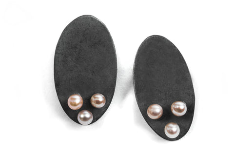 Three Pearl Ovals - Pink Pearls and Oxidized Silver