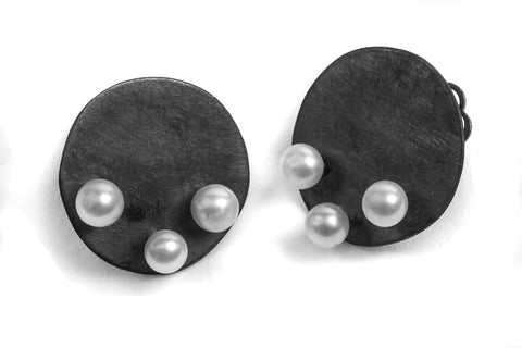 Three Pearl Circles - White Pearls and Oxidized Silver