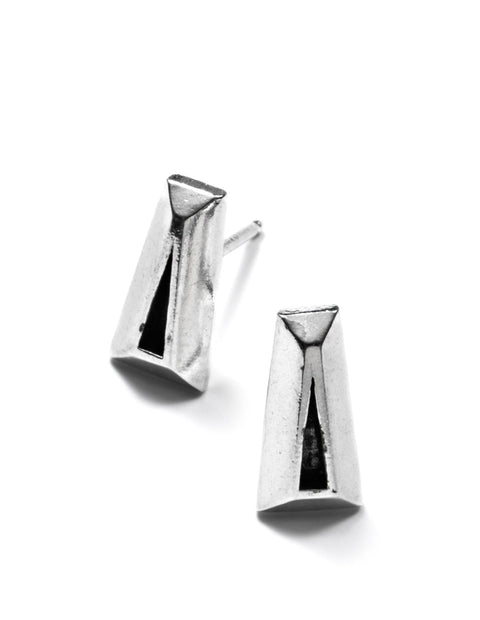 Sterling silver geometric stud earrings handmade by Erica Bello.