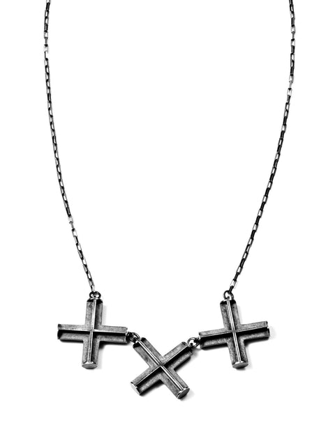 Oxidized silver geometric x's pendant necklace handmade by Erica Bello.