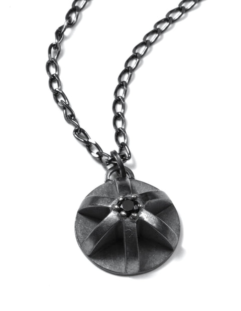 Oxidized silver geometric single charm pendant necklace handmade by Erica Bello.