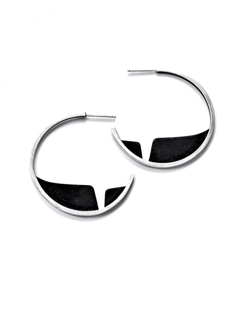 Sterling silver hoop earrings with modern black design handmade by Ella Calas.