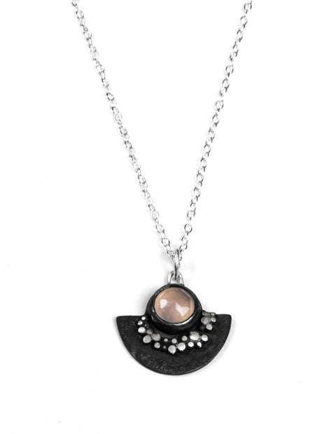 Half circle oxidized sterling silver pendanct necklace with pink chalcedony stone handmade by Ella Calas