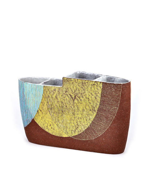 Large vessel with abstract lines handmade by liz pechacek