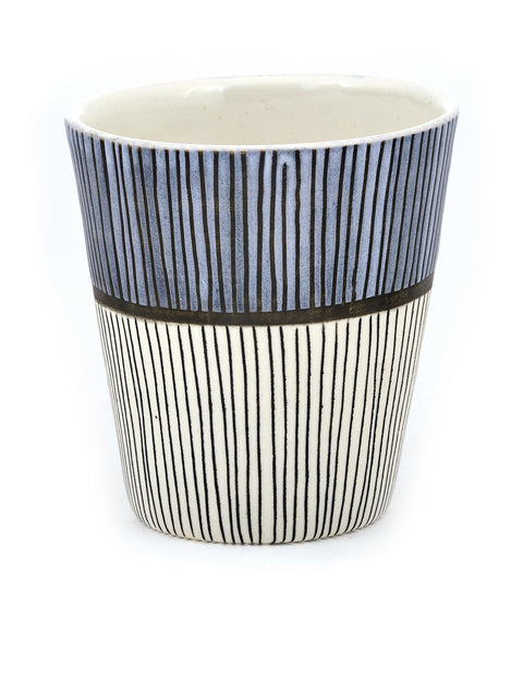 stoneware cup with lines handmade by liz pechacek