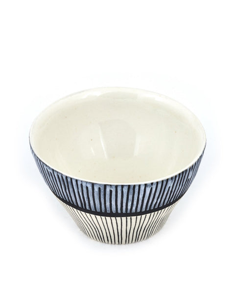small porcelain snack bowl with lines handmade by liz pechacek