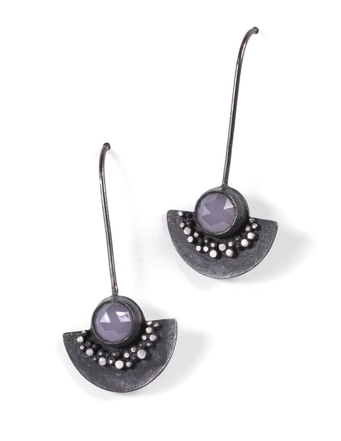 Half circle oxidized sterling silver earrings with pink chalcedony stones handmade by Ella Calas