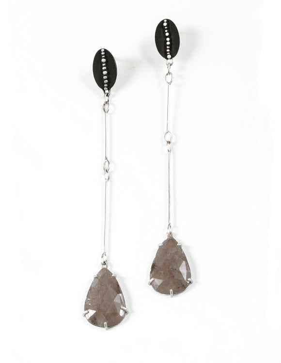 Beautiful sterling silver statement drop earrings with large sapphire stones and dotted details handmade by Ella Calas