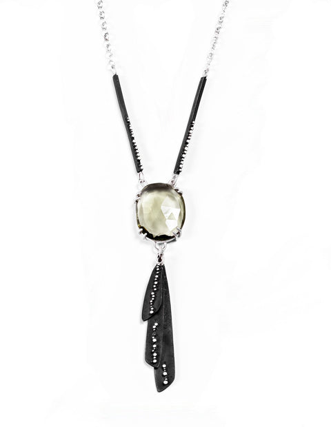 Sterling silver pendant necklace with large tourmaline stone and oxidized metal fringe and delicate dotted detail handmade by Ella Calas