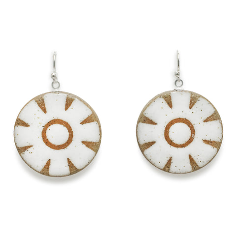 Geometric Flower Earrings (Brown & White)