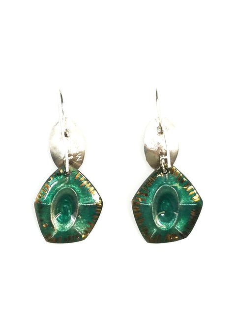Emerald Cut Gem Drop Earrings
