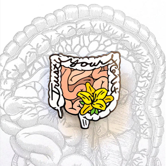 Trust Your Gut Anatomical Intestines Pin