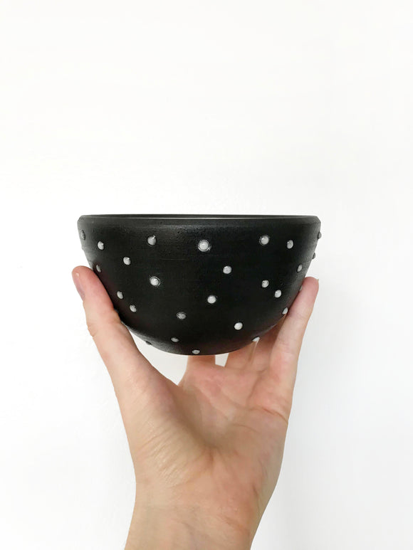 Black Dot Dessert Bowl