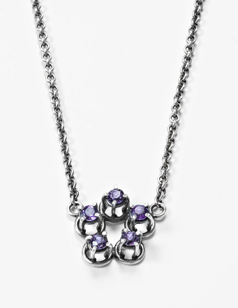 Sterling silver necklace with amethyst pendant handmade by Joanna Gollberg