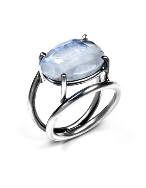 Beautiful moonstone cocktail ring handmade by Joanna Gollberg