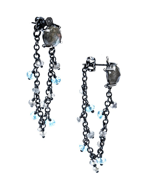 Sterling silver earrings with chain tassles and semi-precious stones handmade by Joanna Gollberg