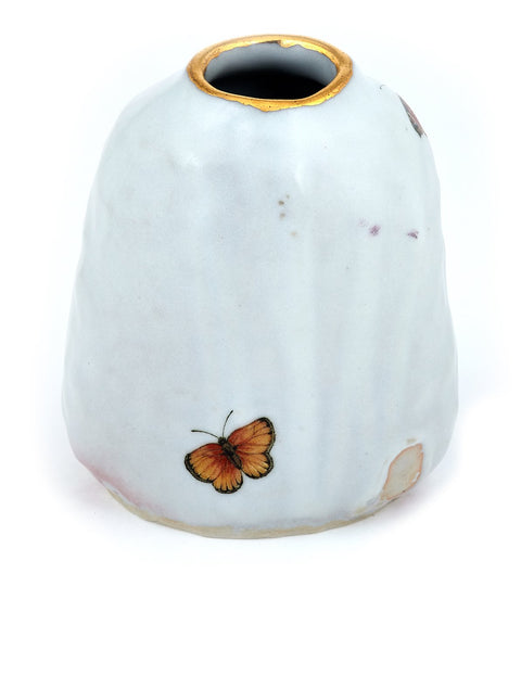 Figurative porcelain bud vase with butterflies handmade by kensuke yamada
