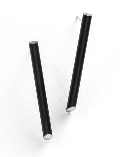 Black steel everyday post earrings handmade by Lindsey Snell.