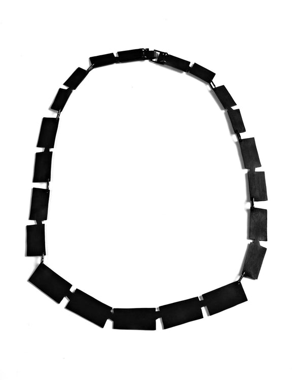 Black statement necklace with square steel chain handmade by Lindsey Snell