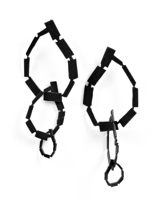 Black geometric statement earrings handmade by Lindsey Snell