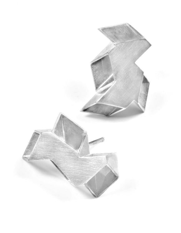 Geometric oragami stud earrings in sterling silver handmade by Lindsey Snell