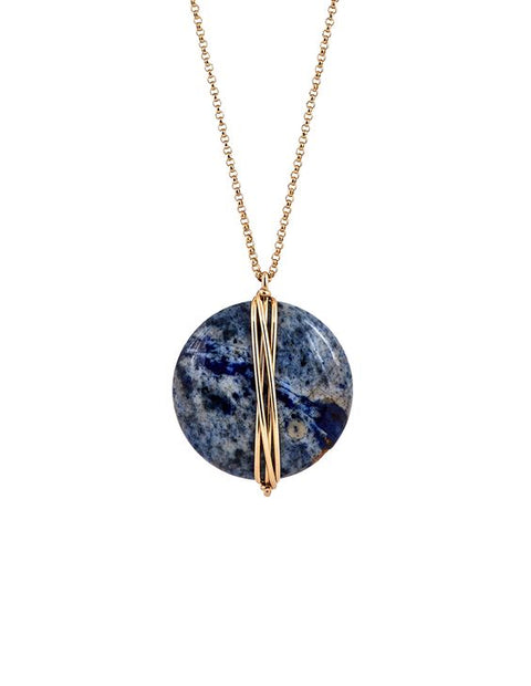 Large Disk Dumortierite Necklace