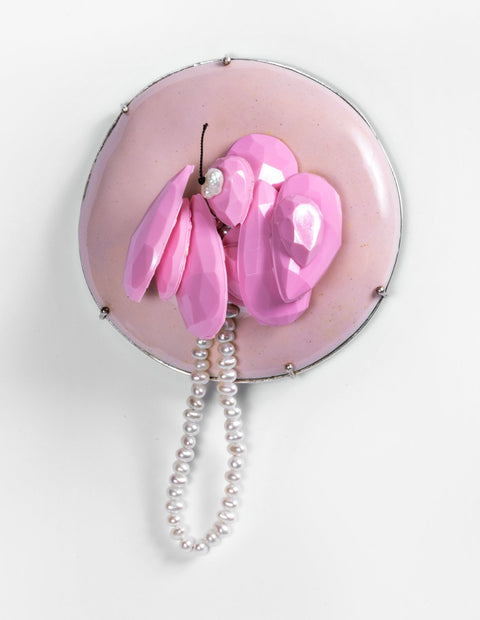 Abstract pink enamel brooch handmade by artist Melissa Tolar.