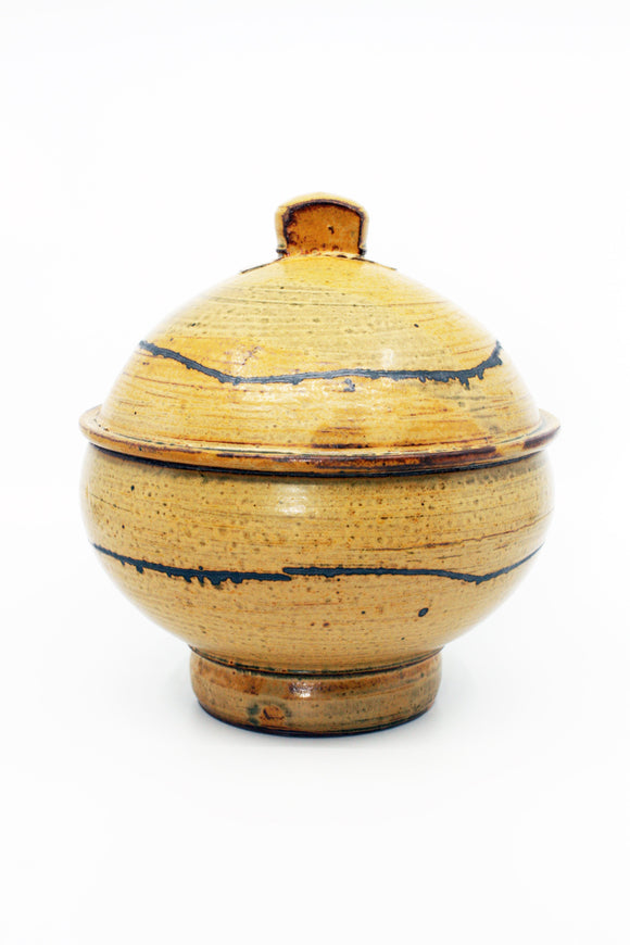 Wheel-thrown lidded jar in earthenware with painted underglaze, handmade by Michael Connelly.
