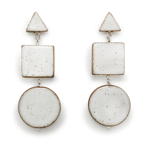 Multi Shape Dangle Earrings (White)