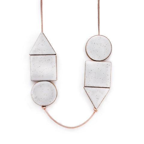 Multi Shape Pendant Long (White)
