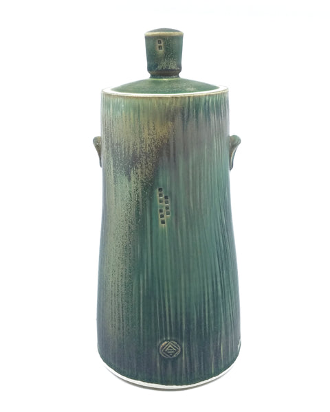 Tall Dark Green Jar