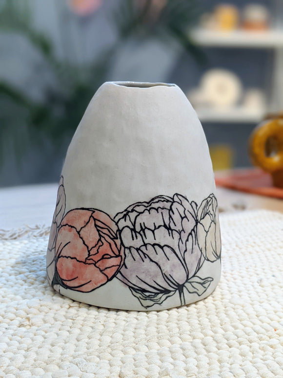 Bud Vase with Peonies