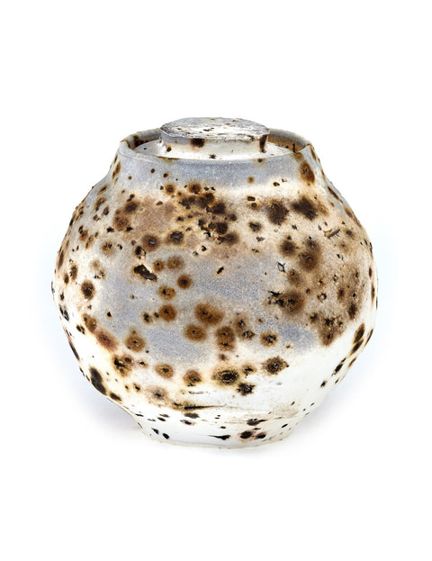 Wood-fired porcelain lidded jar handmade by Perry Haas