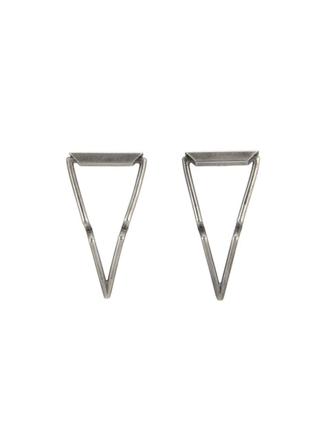 Sterling silver triangle earrings handmade by 2017 Lillstreet Art Center resident artist Peter Antor.