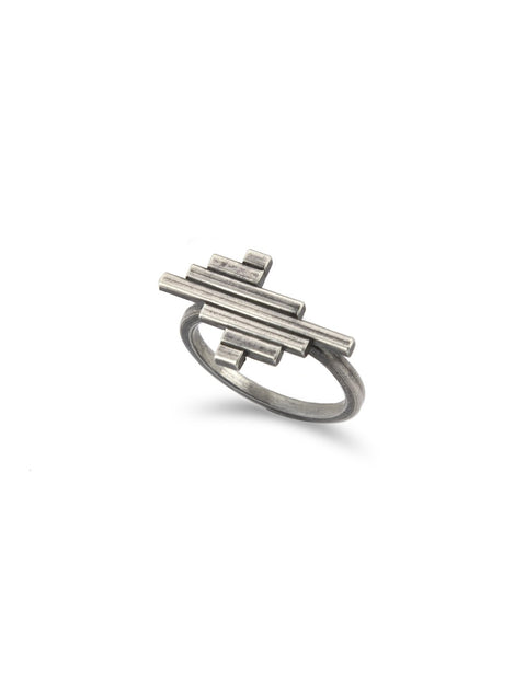 Sterling silver stacked line ring in art deco style handmade by 2017 Lillstreet Art Center resident artist Peter Antor