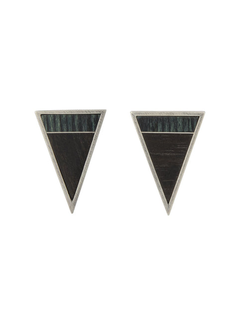Ebony, and wood triangular post earrings with sterling silver inlay handmade by 2017 Lillstreet Art Center resident artist Peter Antor