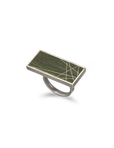 Green sterling silver ring with geometric lines handmade by 2017 Lillstreet Art Center resident artist Peter Antor.