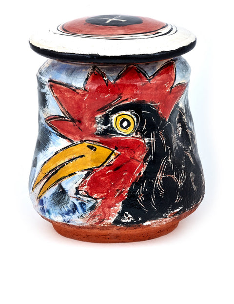 Lidded terra cotta jar with underglaze illustration of chickens handmade by Ron Meyers.