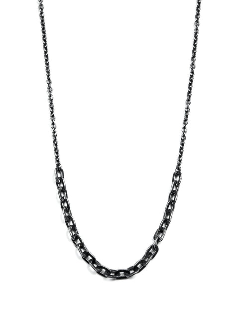 Oxidized sterling silver thick and thin chain necklace handmade by Samantha Skelton.