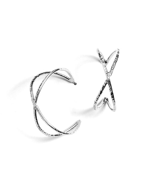 Sterling silver open cross hoop earrings handmade by Samantha Skelton.