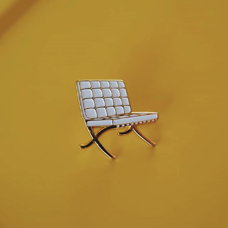 White Quilted Chair Enamel Pin