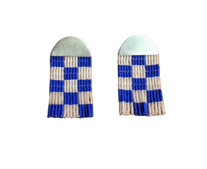 Small Checkerboard Beaded Earrings