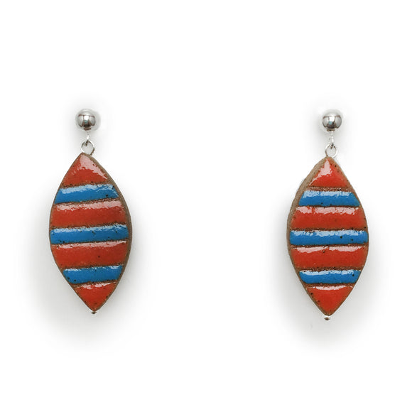 Striped Petal Earrings (Red and Blue)