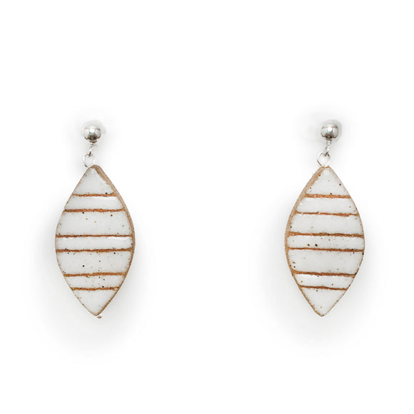 Striped Petal Earrings (White)