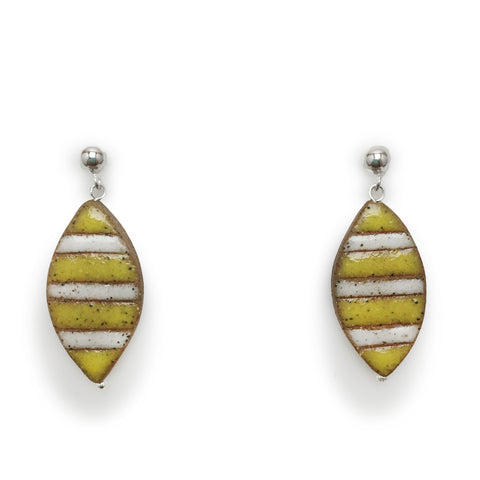 Striped Petal Earrings (Yellow and White)