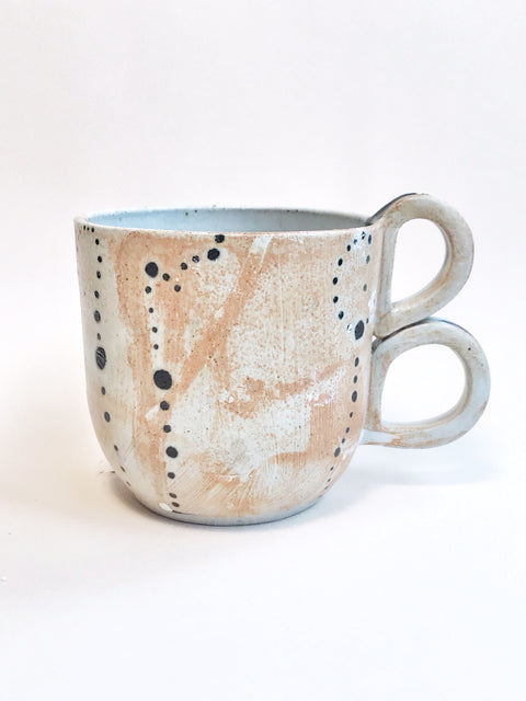 White Dot Double Handle Mug