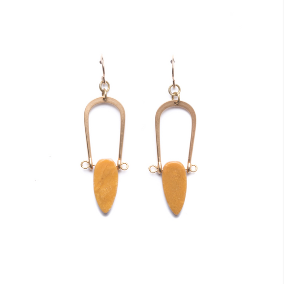 Yellow Jasper Amulet Earrings