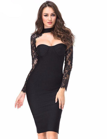 Black cocktail dress with lace details | Vestido de coctel negro a la rodilla con mangas de encaje,YALIBELLA